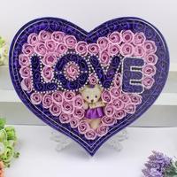 100pcs Set Sweet Heart Shaped Soap Flower Little Bear Gift Box Roses Fragrance Party Favors Romantic