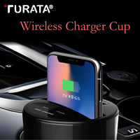 Turata Car Wireless Charger Cup Socket Quick Charge Fast Charging QC Fast Charger Pad For iphone X/iphone 8 Plus Samsung