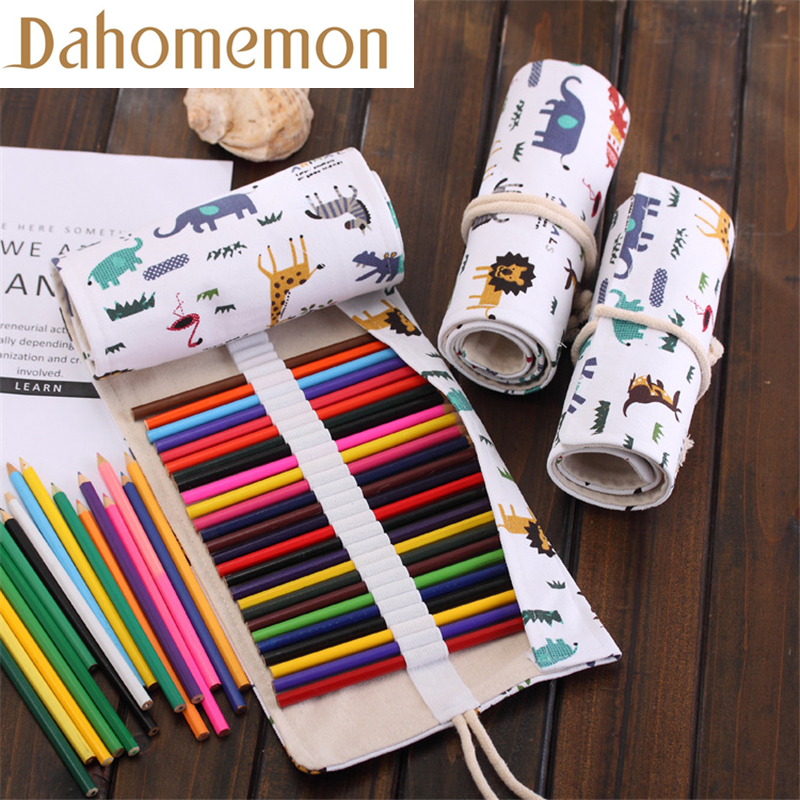 36/48/72 Hole Cartoon Animal Paradise painting Pencil Case Stationery Canvas Pen Roll Up Bag Art Curtain Storage Pencils supply36/48/72 Hole Cartoon Animal Paradise painting Pencil Case Stationery Canvas Pen Roll Up Bag Art Curtain Storage Pencils supply