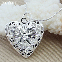 Christmas Gift 925 Silver Color Photo Frame Pendant Necklace Woman Charm / Classic Statement Necklace Fine Jewelry Wholesale