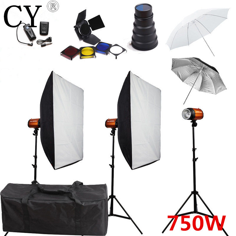 Godox 250SDI Studio Softbox Lighting Kits 750ws Flash+Stand+Lightbox+Trigger+Umbrella+Barndoor++Carrying Bag+Snoot PSK250F 80cm speedlight flash reflective octagonal umbrella softbox black white