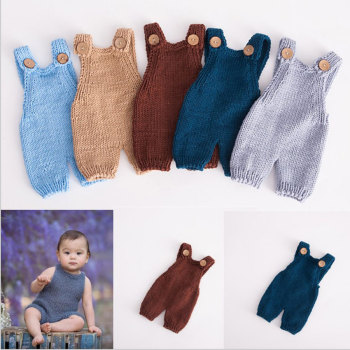 2020 Newborn Props Soft Infant Knitted Baby Boy Girls Costume Buttons Romper Outfit Photography Accessories