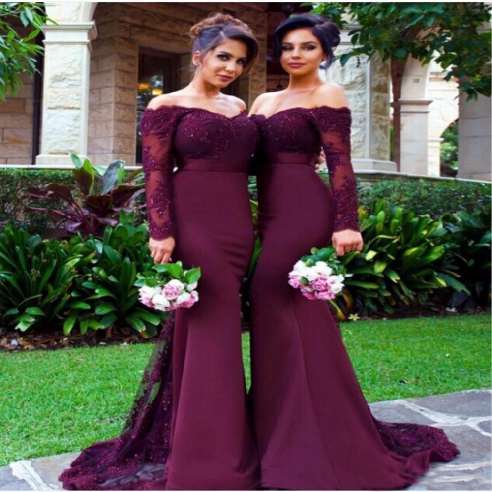 Elegant Mermaid   Bridesmaid     Dresses   Boat Neck Long Sleeves Lace Applique Elastic Satin Maid Of Honor   Dress   Cheap Women Party Gown