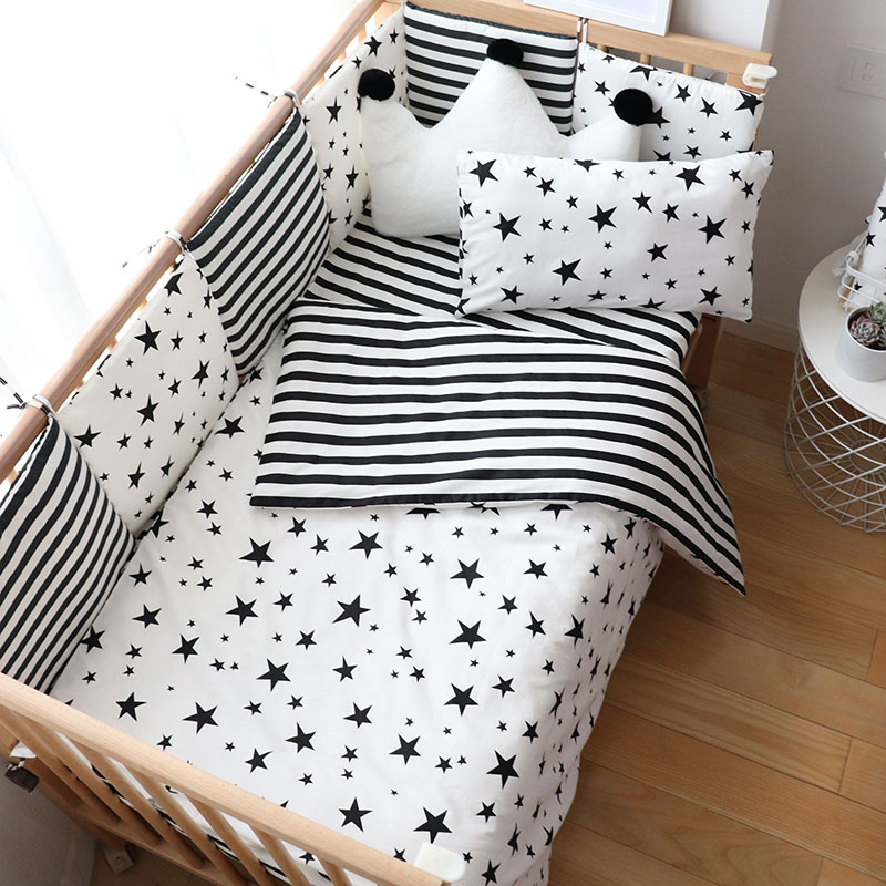 Baby Bedding Set Nordic Striped Star Crib Bedding Set With Bumper Cotton Soft Baby Bed Linen Items For Newborns Nursery Decor