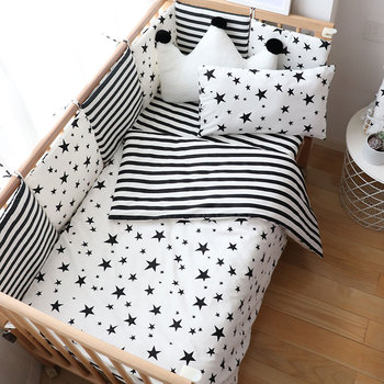 Baby Bedding Set Nordic Striped Star Crib Bedding Set With Bumper Cotton Soft Baby Bed Linen Items For Newborns Nursery Decor baby bedding set for newborns soft cotton crib bedding set with bumper for girl bed linen for kid baby nursery decor custom made