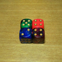 Free shipping Exclusive Special NEW 16mm 2pcs 6-sided D6 beautiful color with gold pips dice for board game accessories