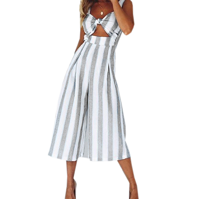 Summer Striped Women Jumpsuits Sexy Sleeveless Backless Beach Jumpsuit Hollow Out Pockets Overalls Wide Leg Pants Rompers GV126