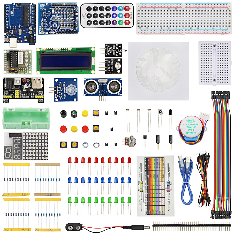 Starter Kit Breadboard USB Cable 1602 Screen  LED Resistor HC-SR04 Infrared Receiver For UNO R3 + Retail Box For Aduino