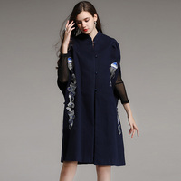 Chinese style Women autumn winter animal flower embroidery cashmere cape stand collar blue white batwing sleeve long wool poncho