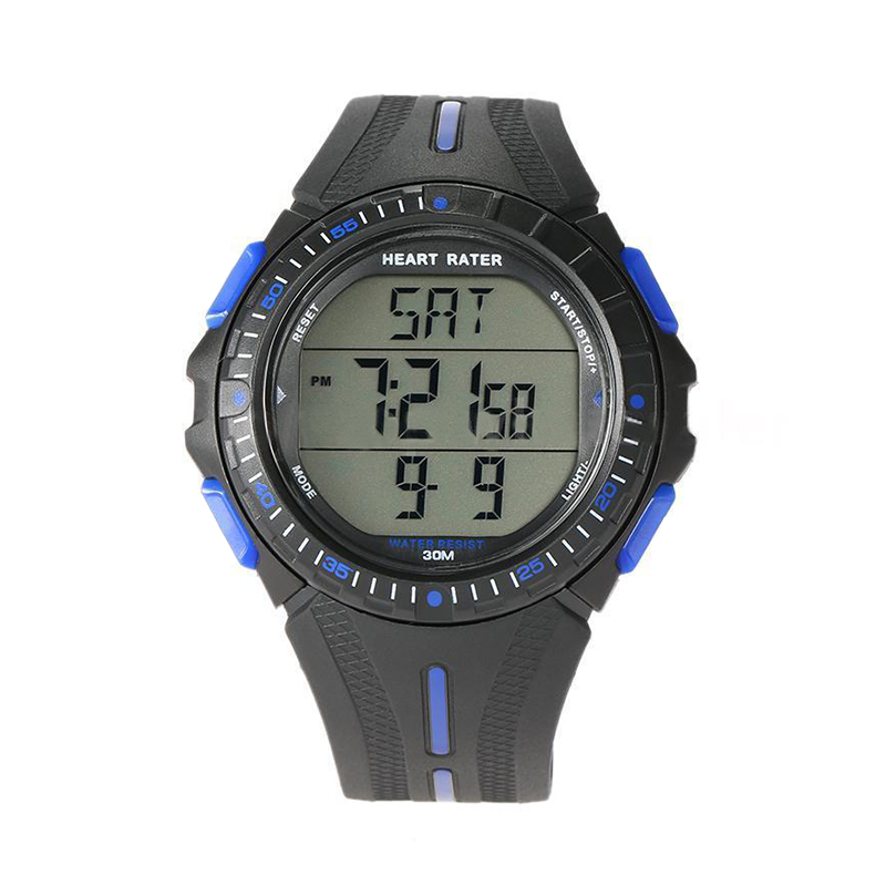 Multifunction Sports Dual time Pulse Heart Rate Monitor Watch w Chest Strap Color Black Blue