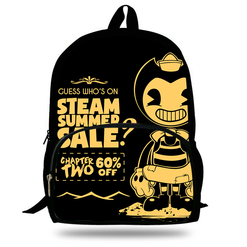 Newest 16 Inch Bendy and The Ink Machine Backpack Set For Children Pop Cartoon printing School Bags Boys Girls Daily Bookbag owl backpack women laptop bags nylon bagpack school bags for teenagers girls boys mochila 3d printing 16 inch children bookbag