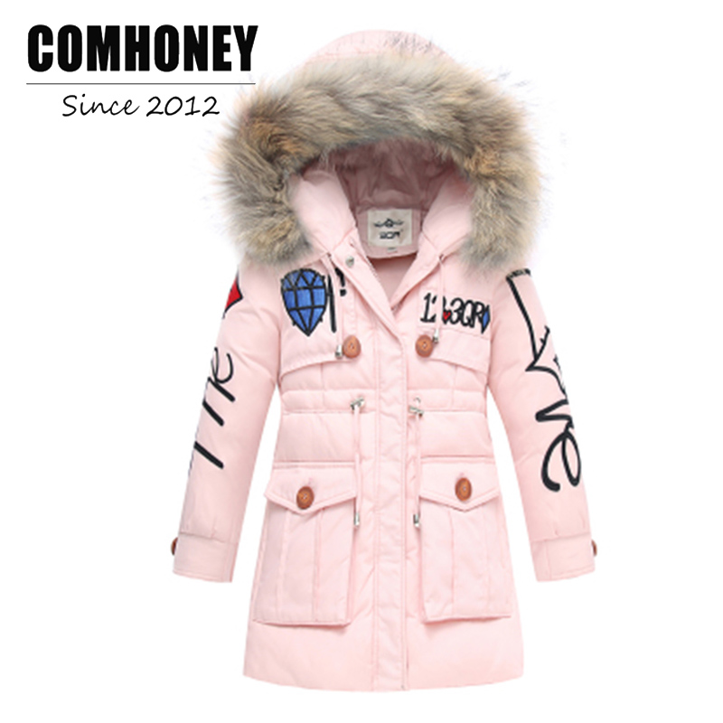 Girls Winter Jacket For Children Thick Duck Down Coat Jacket Boys Warn Parka Outwear Faux Fur Collar Hooded Baby Kids Outerwear цены онлайн