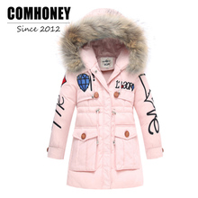 Girls Winter Jacket For Children Thick Duck Down Coat Jacket Boys Warn Parka Outwear Faux Fur Collar Hooded Baby Kids Outerwear(China)