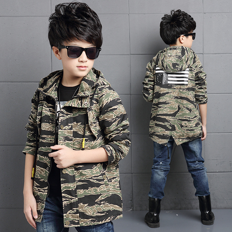 ФОТО The New 2016 Movement Child Camouflage Trench Coat Boys Autumn Wear Long Sleeve Children Children's Clothes