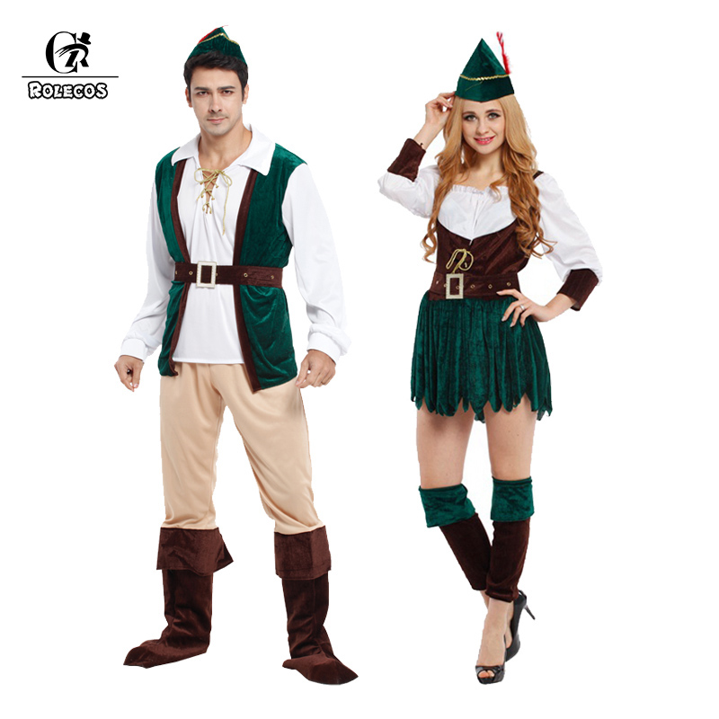 rolecos brand new arrival men and women halloween costumes peter pan cosplay costumes halloween couple costumes - Mens Couple Halloween Costumes