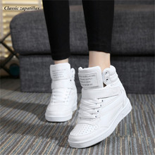 Woman shoes high heels platform casual ankle boots height increased shoes 2017 spring autumn high top women shoes winter boots