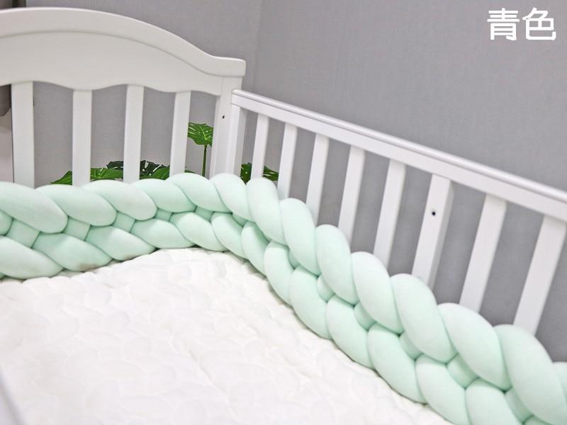 Длина 300 см, детская кроватка, бампер, завязанная узлом, заплетенная плюшевая детская колыбель, Декор, подарок для новорожденных, подушка, детская кровать, спальный бампер - Цвет: Cyan 4 ropes