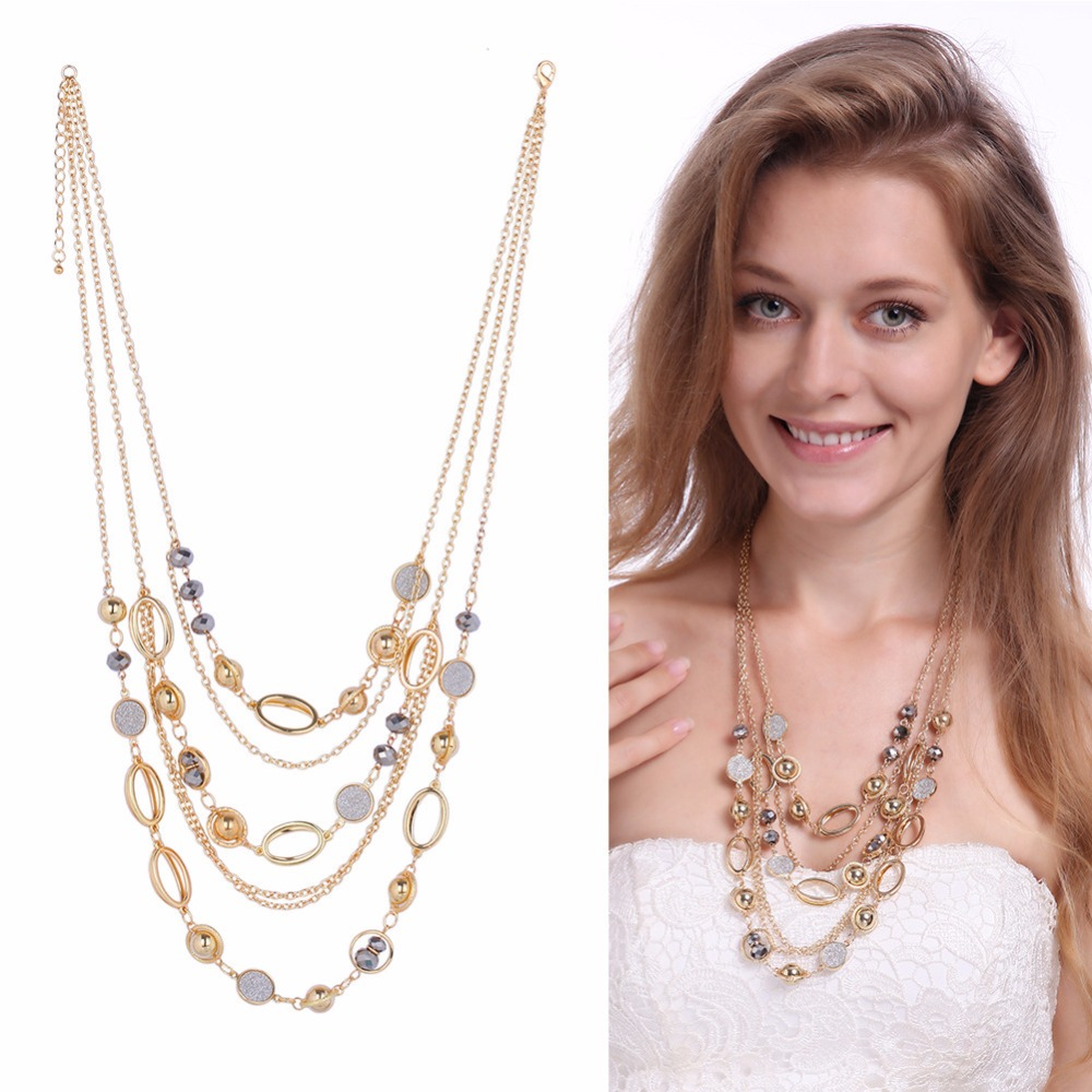 Mieehoo European and American stacked beads clothing necklaces attractive gold color many layers necklace