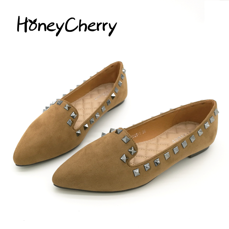 Europe And The United States 2016 New fashion Shoes Flat Rivet Deep Suede  Casual Basic pointed to Flat Shoes Women single shoes europe and the united states 2015 new spring shoes and high heeled shoes asakuchi pointy suede 35 41 code