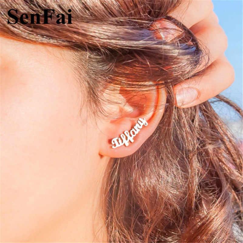 Senfai חדש שם עגילים לנשים בנות הרבעה tiffan תכשיטי עם שם חריש Monogram ראשוני stud עגילי תכשיטים