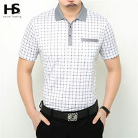 Free Shipping 2016 Summer Short Sleeve Plaid T Shirt With Packet Casual T Shirt Men Business