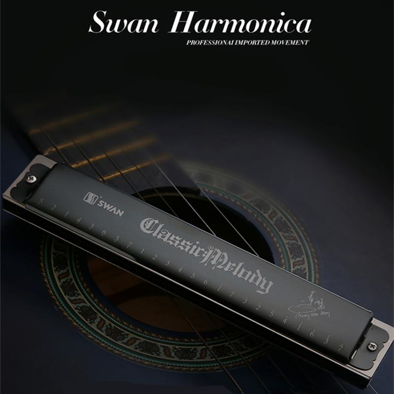 Swan Harmonica Key of C Gaita De Boca Harmonica BLACK Folk Armonica Holes Harp Tremolo Instrumentos Musicales Swan Harmonika