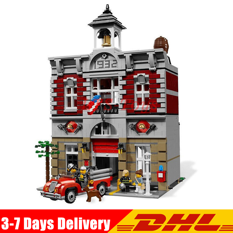 IN Stock DHL LEPIN 15004 2313Pcs City Street Fire Brigade Model Building Kits Blocks Bricks Compatible LEGOly 10197 Bricks lepin 15004 2313pcs city creator fire brigade model kits figures street building blocks bricks compatible toys gift 10197