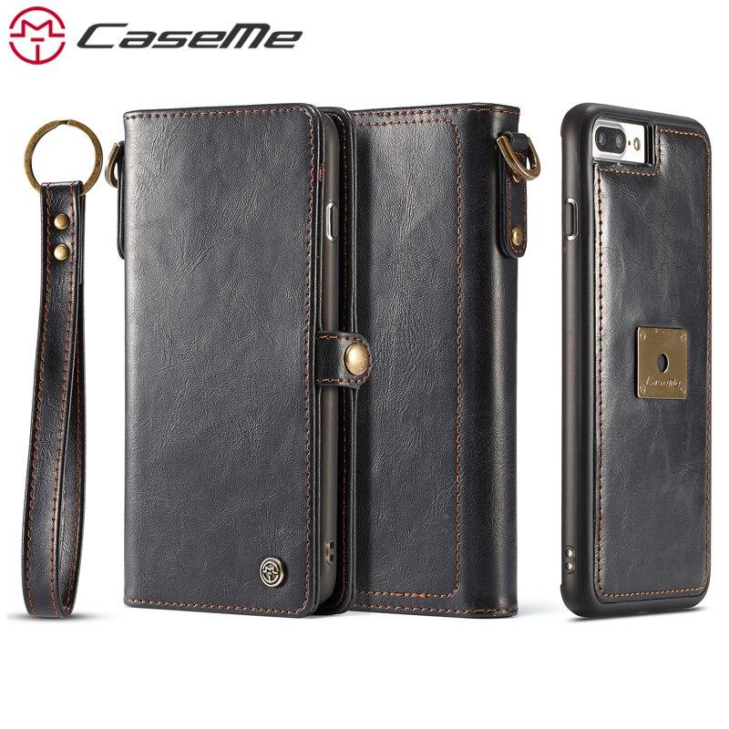 imágenes para CaseMe Cajas Del Teléfono Para iPhone 7 Plus 7 6 6 s Más de Lujo Retro Multifunción Cartera de Cuero Tarjeta de Bolsillo 2 En 1 Cubierta Trasera caso