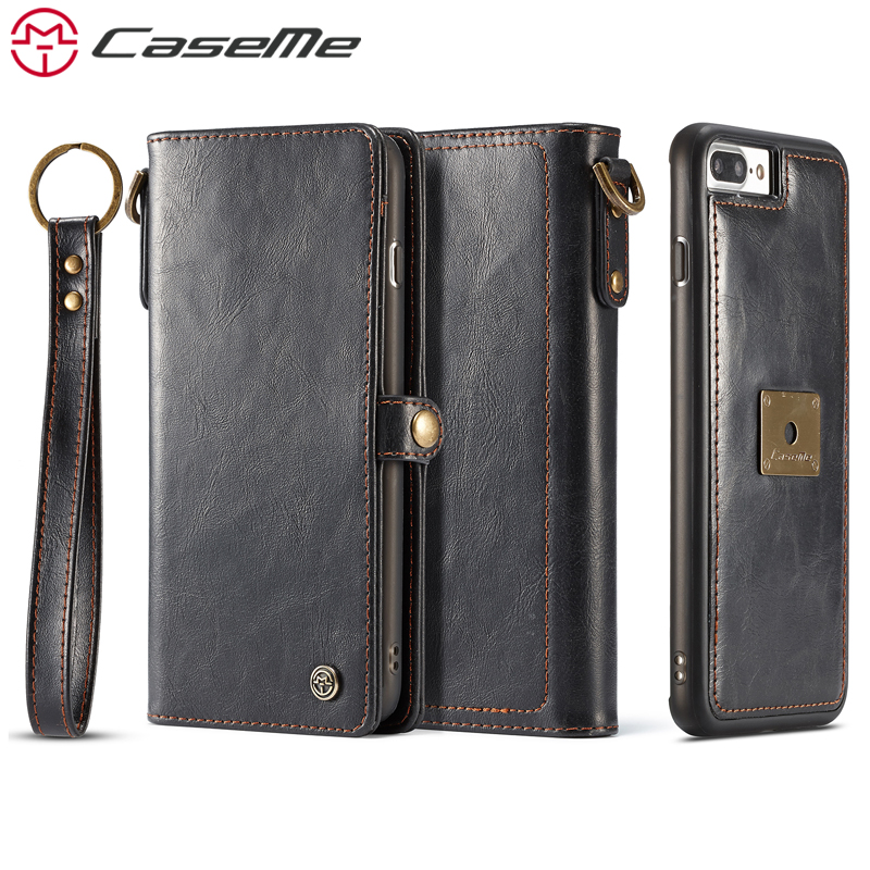 CaseMe Phone Cases For iPhone 7 8 Plus Luxury Retro Multifunction Leather Wallet Card Pocket 2 In 1 Cover Back Case For iPhone8