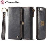 CaseMe Przypadki Telefonów Dla iPhone 7 7 Plus Luksusowe Retro Wielofunkcyjne skórzany Portfel Miniprospekty 2 W 1 Pokrywa Case Powrót Do iPhone7