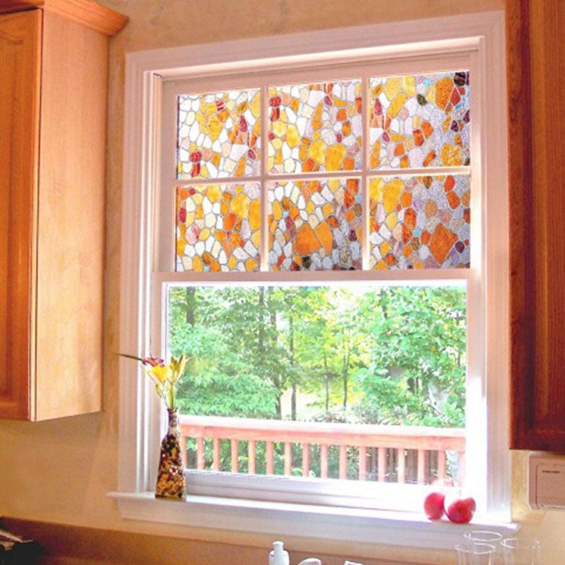 Colorful cobblestone glass film home decorative stained for Decorative windows for bathrooms