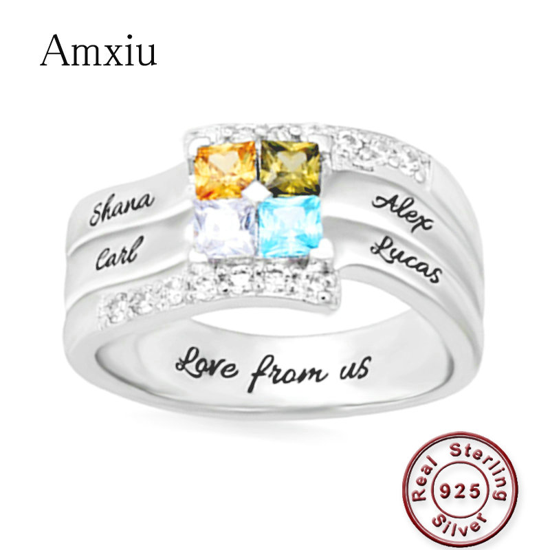 Amxiu Customize Four Family Names Rings Personalized 925 Silver Ring with Birthstones Large Zircon Rings For