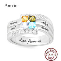44171dfa068d Amxiu Customize Four Family Names Rings Personalized 925 Silver Ring With  Birthstones Large Zircon Rings For