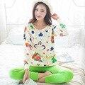 2017 Primavera Conjuntos de Pijama Mulheres Pijamas Mujer Verde Dos Desenhos Animados Flor Pijama Femme Manga Longa Sleepwear Homewear Feminino M ~ XL