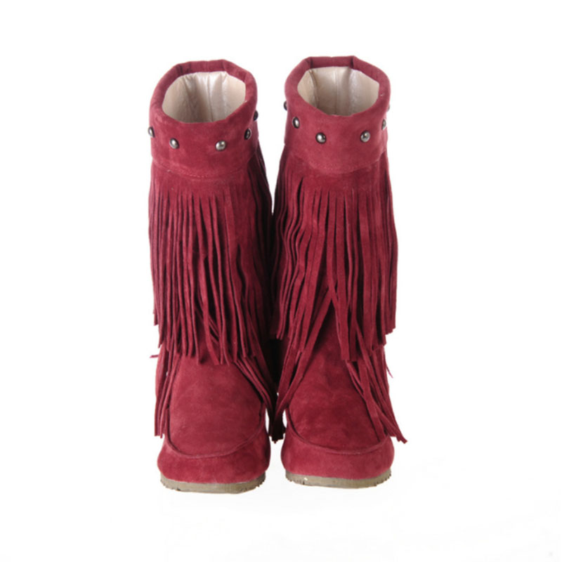 COVOYYAR Fringe Boots 2 Layer Tassel Under Knee High Low Platform ...