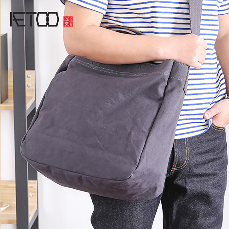 AETOO Canvas packets Shoulder Oblique cross pack large capacity literary simple handbag male and female personality