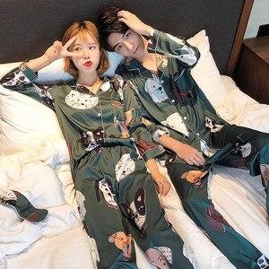 Image 5 - Pyjamas amoureux femmes soie tache vêtements de nuit Bighead chien imprimé loisirs femmes popeline Pijama ensemble col rabattu vêtements de maison