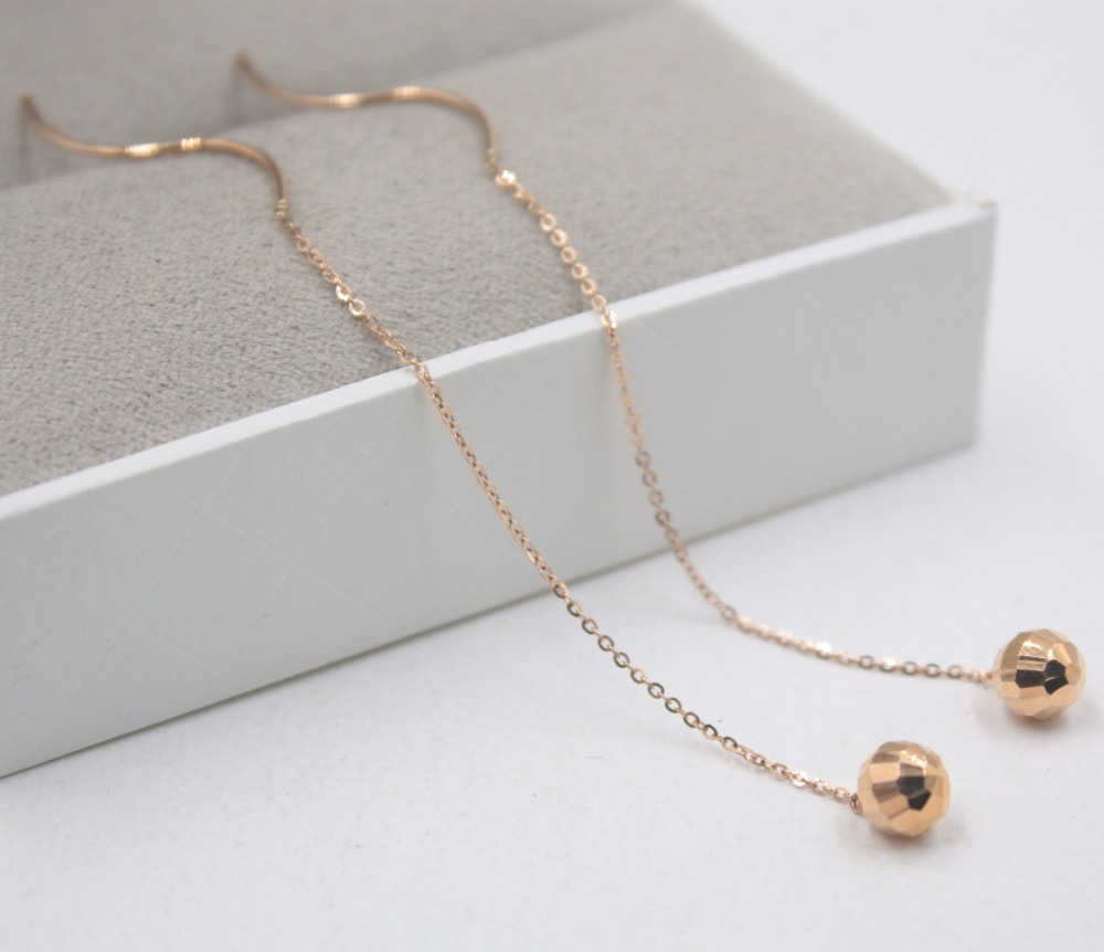 Authentic 18K Rose Gold Earrings Carved Ball O Cable Link Chain For Women Girl Drop Earrings Line 90mmL Within 1.1-1.2g Hot 2019Authentic 18K Rose Gold Earrings Carved Ball O Cable Link Chain For Women Girl Drop Earrings Line 90mmL Within 1.1-1.2g Hot 2019