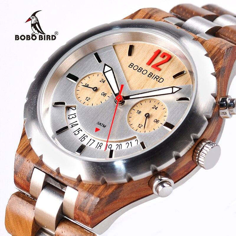 BOBO PÁSSARO De Madeira Elegante Mens Relógios Top Marca de Luxo Data de Exibição do relógio de Pulso À Prova D' Água de Metal marcas de reloj hombre W-Q28
