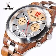 בובו ציפור אלגנטי עץ Mens שעונים למעלה מותג יוקרה מתכת שעוני יד עמיד למים תאריך תצוגת marcas דה reloj hombre W Q28