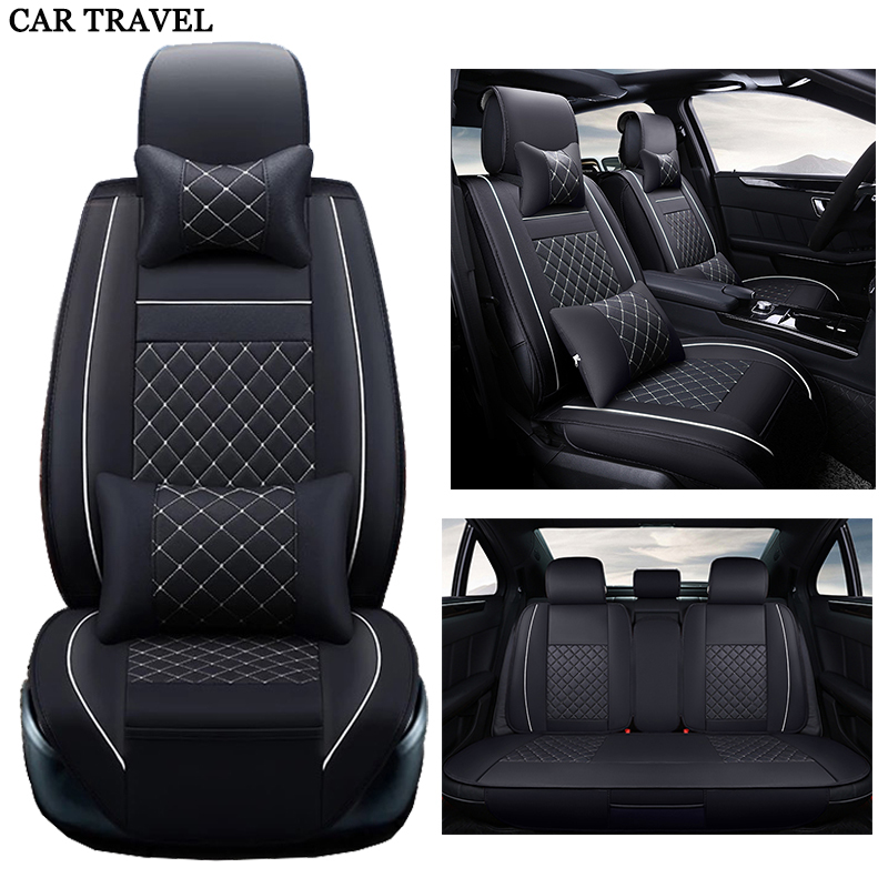 New Luxury PU Leather Auto Universal Car Seat Covers Automotive Seat Covers for toyota lada kalina granta priora renault logan 2018new luxury pu leather auto universal car seat covers automobile seat cover for car peugeot 206 for car lada kalina in hot