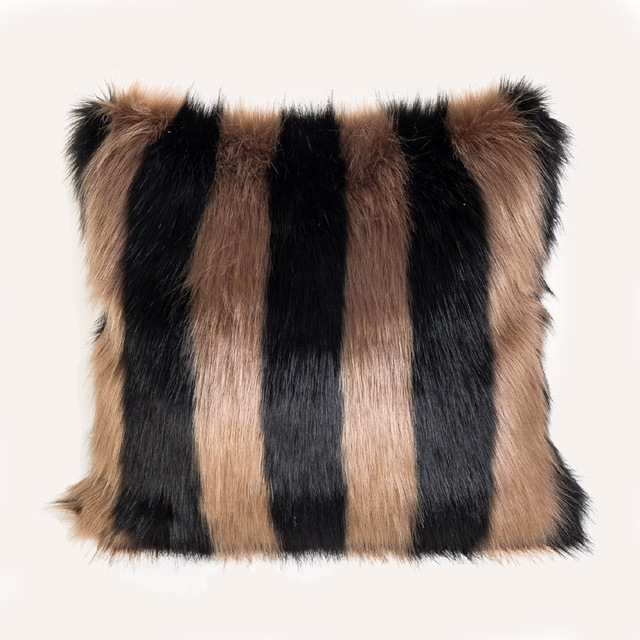 Black White Stripe Faux Fur Cushion Pillow Cover Bed Couch Chair