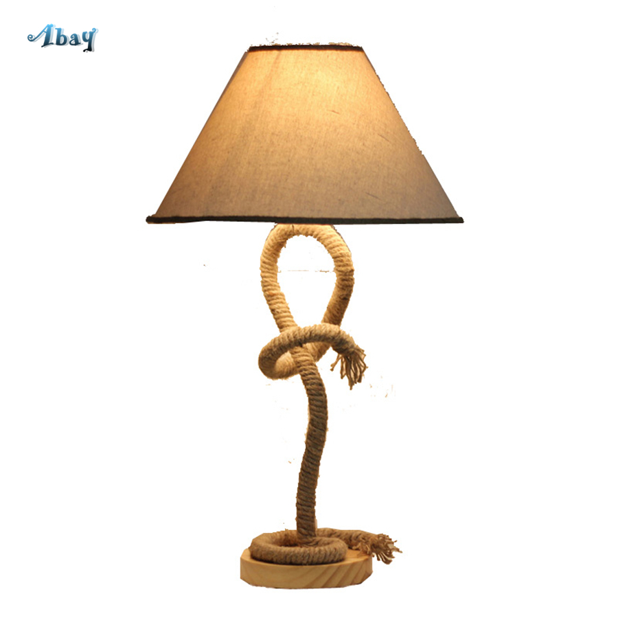 American Village Hemp Rope Fabric Table Lamps Retro Living Room Decoration Wooden Bedside Lamp Cafe Bar Party Table Light LedAmerican Village Hemp Rope Fabric Table Lamps Retro Living Room Decoration Wooden Bedside Lamp Cafe Bar Party Table Light Led