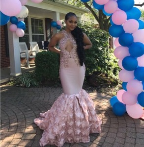 Image 3 - Sexy Black Girls Mermaid High Neck Dusty Pink Prom Dresses 2020 Cut out Top Beaded Sequined Long Formal Evening Party Gowns