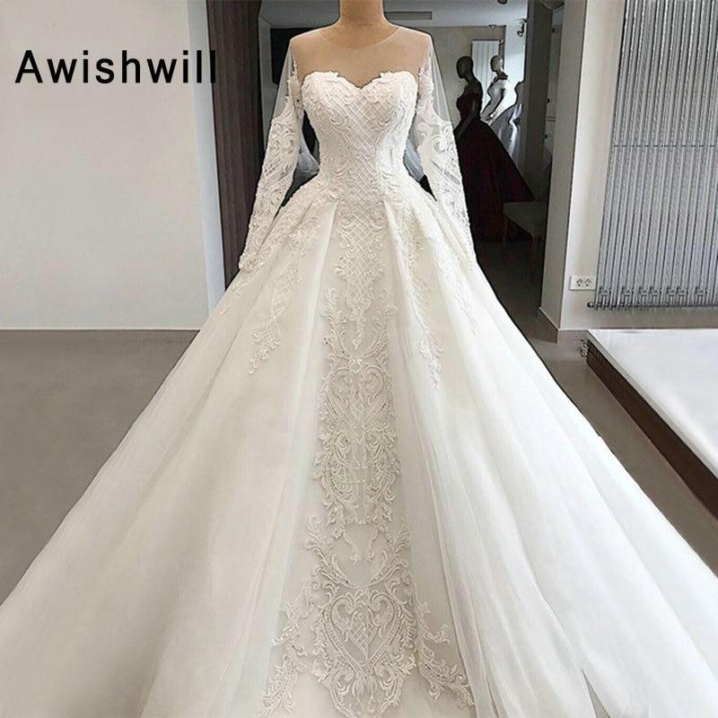 Luxury Tulle Three Quarter Sleeve A Line Wedding Dress: Women Luxury Wedding Dress 2019 A Line Long Sleeve Dubai