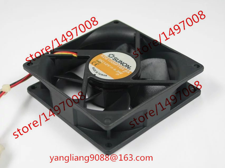 SUNON KDE1209PTBX-6A DC 12V 4.3W 3-wire 3-pin connector 90mm 90x90x25mm Server Square Cooling Fan free shipping for sunon kd1212pmb1 6a dc 12v 6 8w 3 wire 3 pin connector 110mm 120x120x38mm server square fan