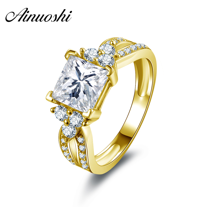 AINUOSHI 10k Solid Yellow Gold Wedding Rings 1.6 CT Fashion Anillos de Compromiso AAA+ Cubic Zirconia Engagement Ring for Women logo engraved titanium steel gold silver love rings for women men cubic zirconia engagement wedding rings anillos bague femme