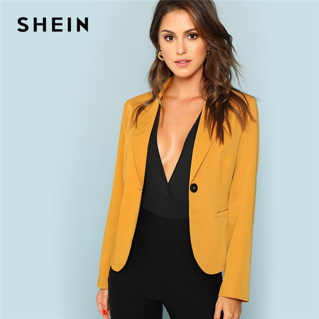 4a277cde8f SHEIN Ginger Office Lady Pocket Front Single Button Solid Workwear Blazer  2018 New Autumn Elegant Women Coat And Outerwear