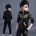 Fashion high dragon printed boy tracksuit clothing long sleeves boys set