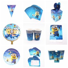 Minions Party Tableware Set Paper Plate Napkins Cup Tablecloth Straw for baby shower Birthday minions Party Decorations Supplies(China)